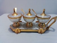 Brass Enamel Sugar Pot With Cart