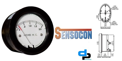 Sensocon USA Miniature Low Cost Differential Pressure Gauge Series Sz-5000-125PA