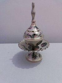 Brass Enamel Colored Sugar Bowl