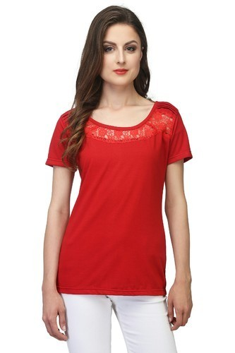 Ladies Fancy Red Color T-Shirt