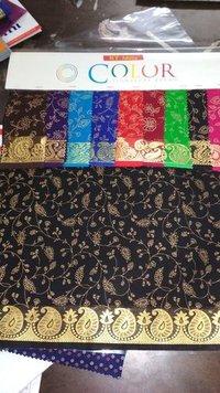 Gold Print Jacquard Blouse Fabric