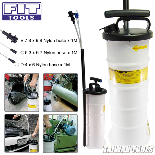 FIT TOOLS 6.5L Manual Operation Oil or Fluid Extractor Bleeder with 4 pcs Hose