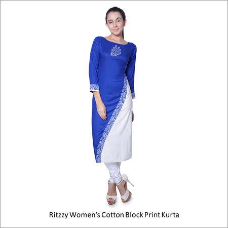 Womens Cotton Block Print Kurta