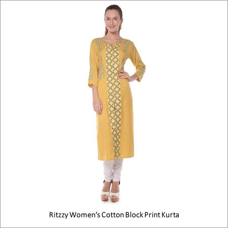 Womens Cotton Block Print Kurta