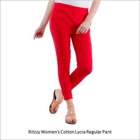 Womens Cotton Lycra Regular Pant
