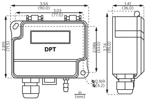 Sensocon USA Differential Pressure Transmitter Series DPT30-R8 - Range  -5.0 - 5.0 inWC