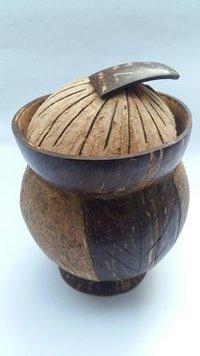 Eco-Friendly Handmade Natural Coconut Shell Mug With Design & Natural Color -Small