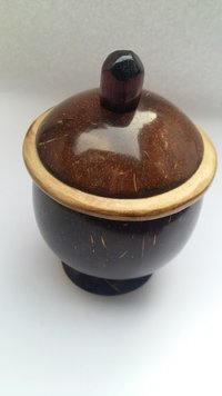 Eco Friendly Handmade Natural Coconut Shell Pickle/Salt Pot With Cap & Natural Color - Small