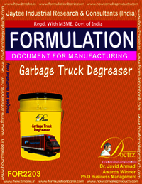 Garbage truck De-Greaser Manufacturing formula