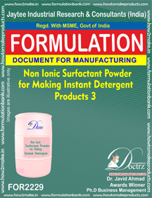 Industrial Use Cleaning Product formulations