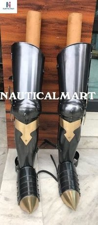 Medieval Knight Gothic Steel Armor Full Leg Guards - Black Antique