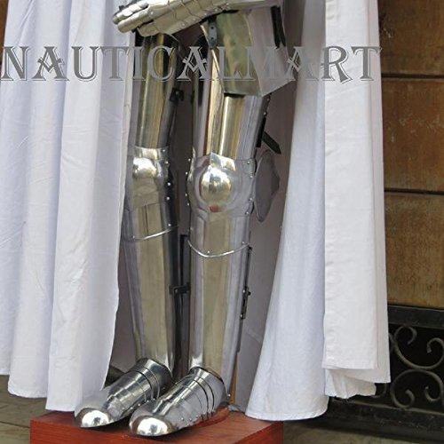 Medieval Steel Greaves Armor Full Leg Guard