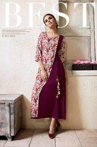 Designer Silk Printed Kurti