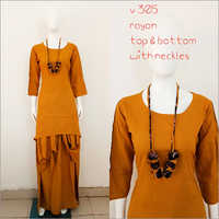 Kurtis Full Set Top Bottom With Necklace
