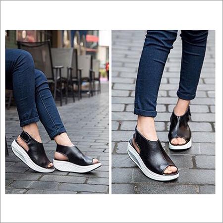 Ladies Black Wedges Sandals