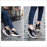 Ladies Black Wedges Sandals