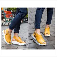 Ladies Wedges Yellow Sandals