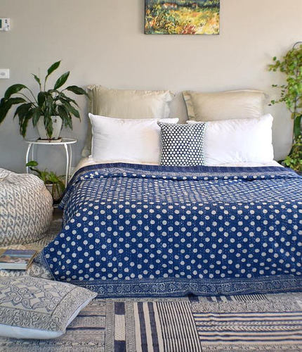 Polka Dot Kantha Bed Spread