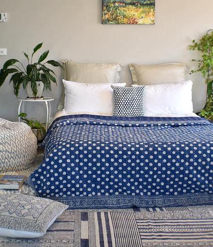 Polka Kantha Bed Spread