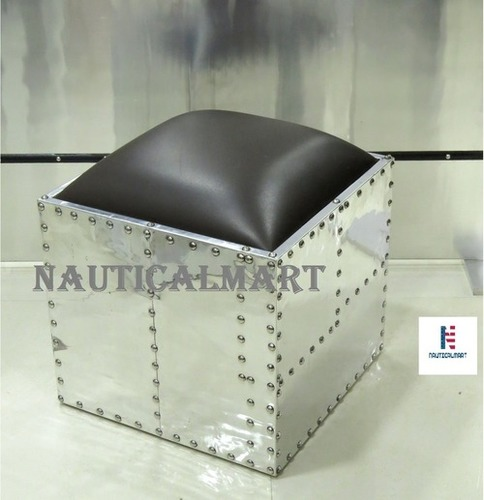 NauticalMart Aluminum Square Ottoman Side Table Aviator Furniture