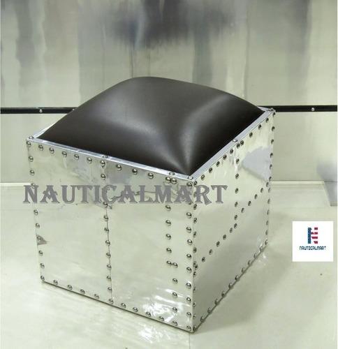 NauticalMart Aluminum Square Ottoman Side Table Aviator Furniture