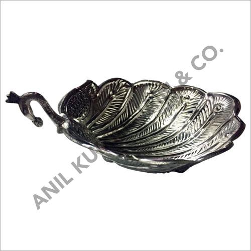 Peacock Decorative Silver Bowl