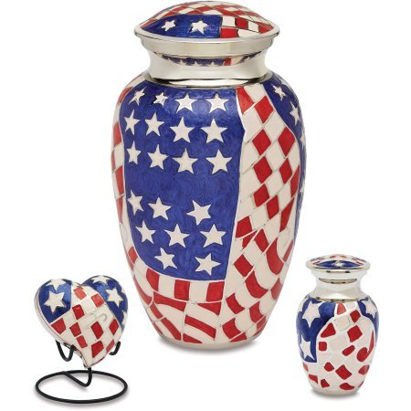 American Flag Brass Cremation Urn