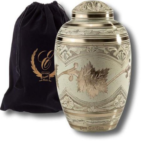 Cream Wash Brass Metal Cremation Urn