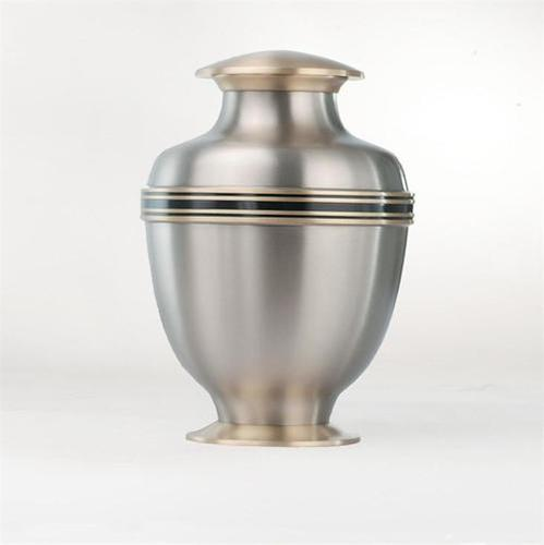 Classic Silver Brass Metal Cremation Urn