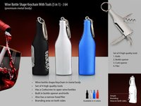 WINE BOTTLE SHAPE KEYCHAIN WITH 5 TOOLS (METAL)