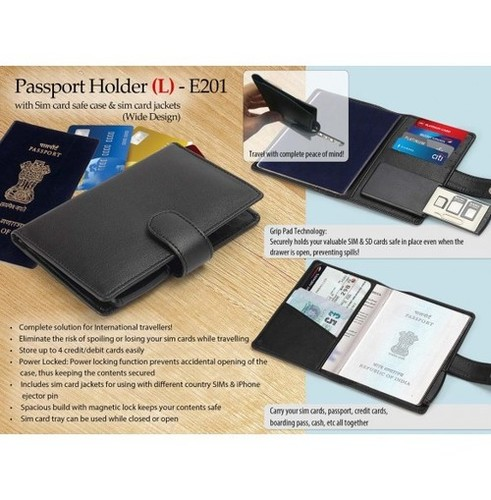 PASSPORT HOLDER WITH SIM CARD SAFE CASE & SIM CARD JACKETS (L) (WIDE DESIGN)