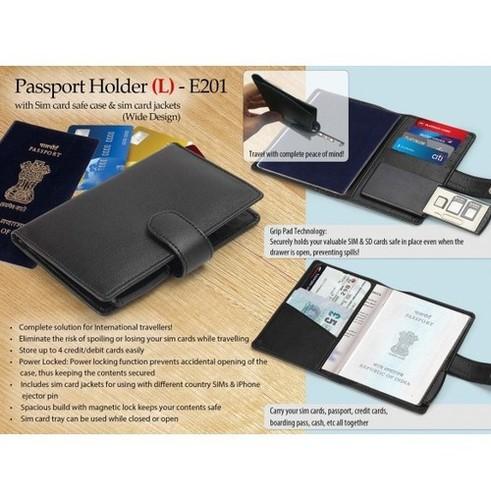 PASSPORT HOLDER WITH SIM CARD SAFE CASE & SIM CARD JACKETS (L) (WIDE DESIGN)