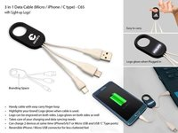 3 In 1 Data Cable With Light Up Logo (Micro / Iphone / C Type)