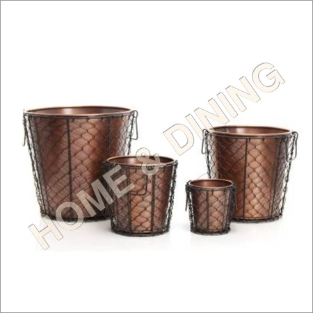 Copper Antique Planter Set Of 3 Inside Net