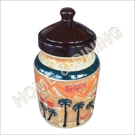 Ceramic Jar With Lid Black Green Orange Color