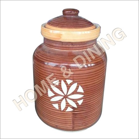 12 Inch Ceramic Jar With Lid Brown Color