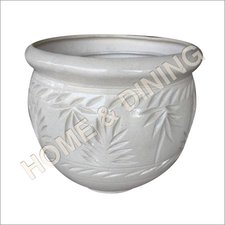 Ceramic Planter Set Of 3 White Color