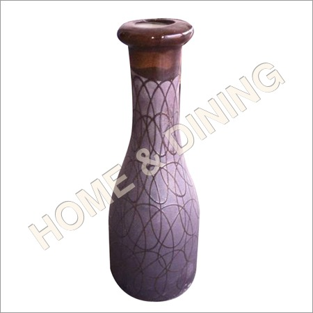 12 Inch Ceramic Vase Grey and Coffee Color