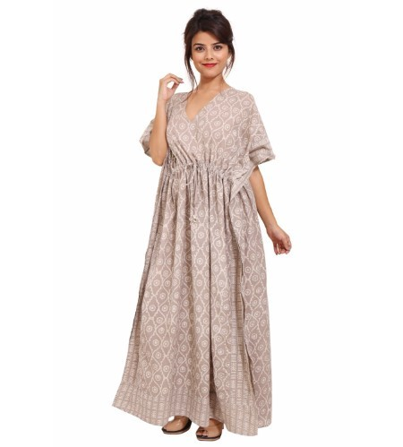 Cotton Short Sleeve Full Length Kaftan