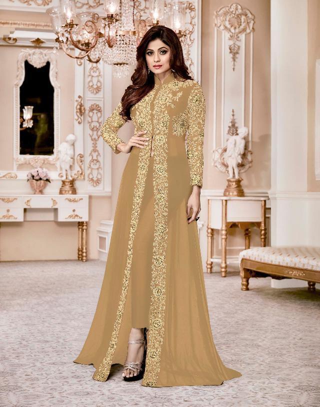 aashirwaad shamita gold  black embroidered suit