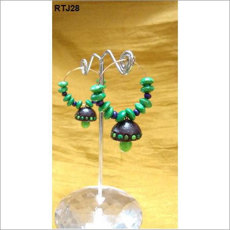 Green Ring Jhumkas