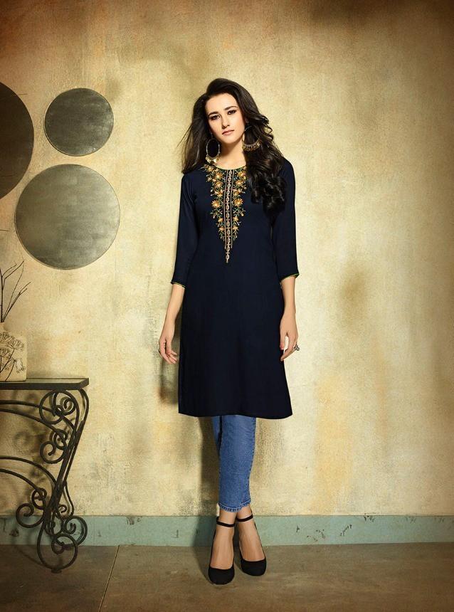 Buy Kessi Kajree Kurti Rayon Embroidered