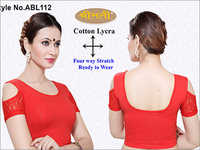 Ladies 4Way Lycra Short Sleeve Blouse With Cut Sleeve