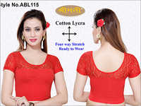 Ladies 4Way Lycra Short Sleeve Blouse  With Lace