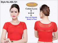 Ladies 4 Way Lycra With Lace Blouse , U F & B Short Sleeve