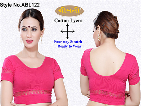 Ladies 4 Way Lycra Short Sleeve Blouse  With Lace