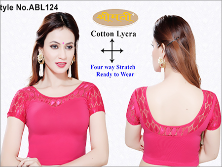 Ladies 4 Way Lycra With Lace Blouse , U Back Short Sleeve