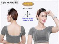 Ladies Jari Fabric Plain Short Sleeve Blouse