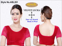 Ladies Velvet Lycra Cup Sleeve Lace Blouse