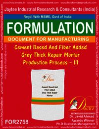 Cement Based & Fiber Added Grey Thick Repair Mortar Production Process – III